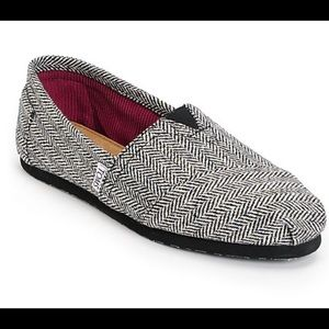Toms Classic Black Herringbone Sparkle Slip Shoes